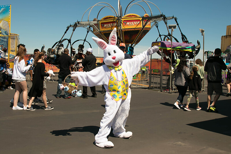 Bunny costume in front of the Twister ride