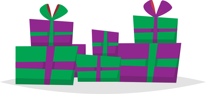Group of purple and green gifts