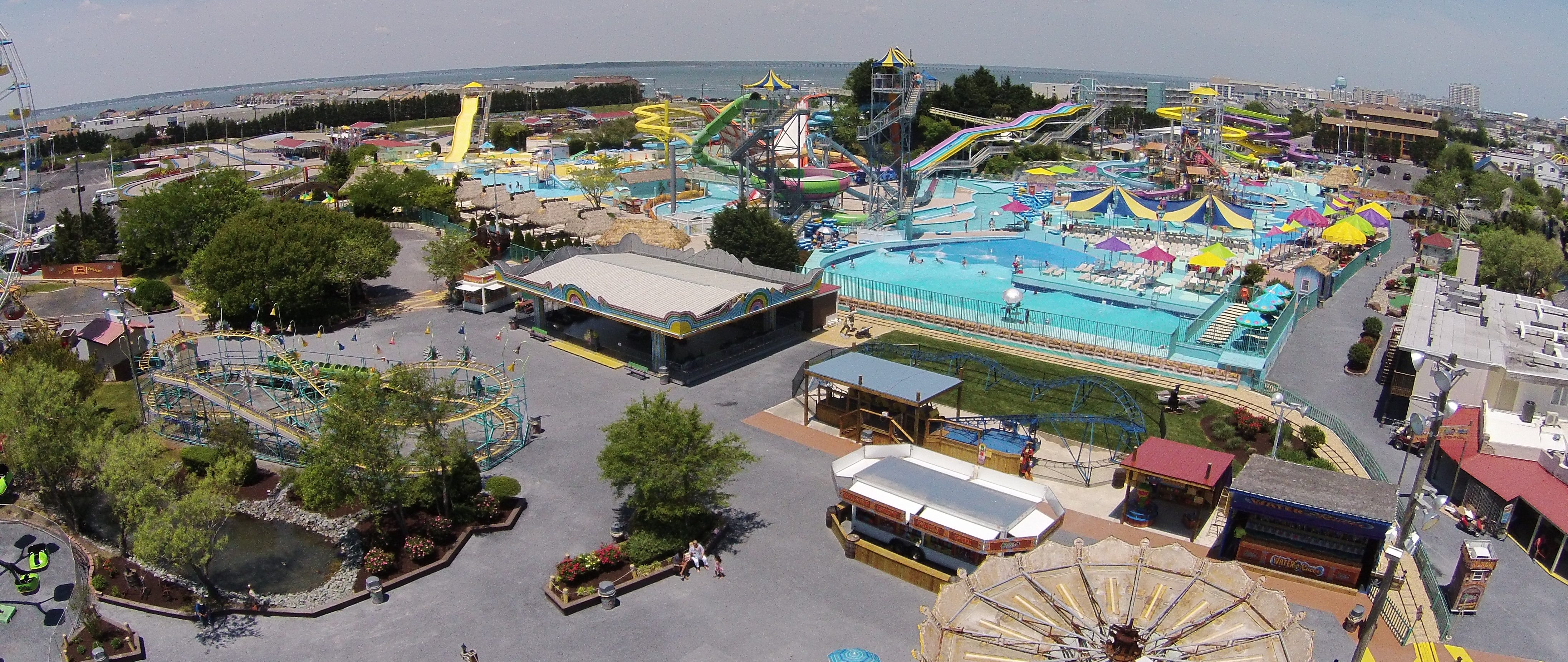 aerial view of the jolly rogers amusement park
